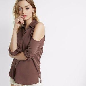 NWT Cold Shoulder Silky Soft Twill Boyfriend Shirt
